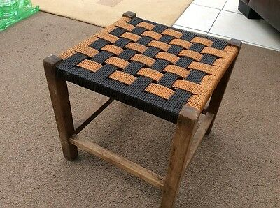 Antique Wooden Raffia Covered Stool