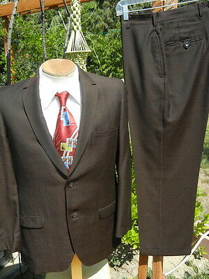 Vintage 1960s Worsted Suit 40S 31x27 - in Root Beer Brown - Free Ship in USA