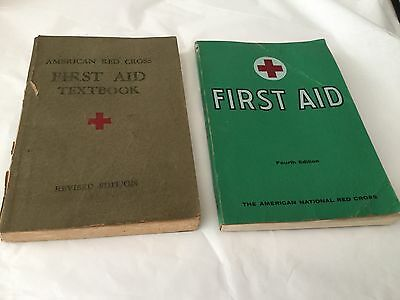 Lot of 2 Red Cross  First Aid Textbook Paperback 1945 and 1965