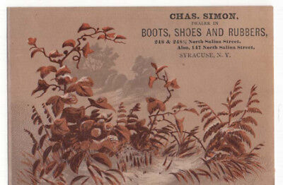 Syracuse, New York, CHAS. SIMON, Boots, Shoes and Rubbers Trade Card
