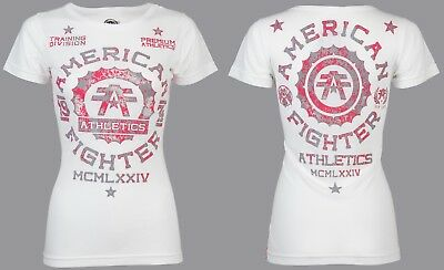 AMERICAN FIGHTER Womens T-Shirt MARYLAND Athletic WHITE Biker Gym UFC $40 NWT