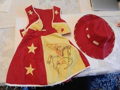 VINTAGE COW GIRL OUTFIT 1940s or 1950s.  HAT, VEST & SKIRT