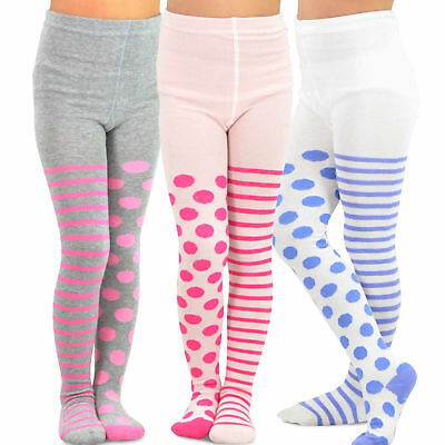 TeeHee Kids Girls Fashion Cotton Tights 3 Pair Pack (Stripe with Dots)