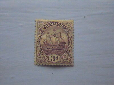 nickstampshop ~~ Bermuda ~  MH 3d Violet/Yellow ~ Colony Ship ~ 1910-25 ~ Sg49