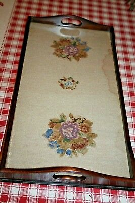 Antique Mahogany Wood Butlers Serving Tray Wooden Fine Tapestry Petite Point Old