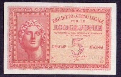 5 Drachmes From Greece Italy Isole Jonie Unc