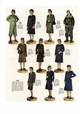 Vintage 1943 Women Of The Military Uniforms Waac Army Red Cross Waves Ad Print