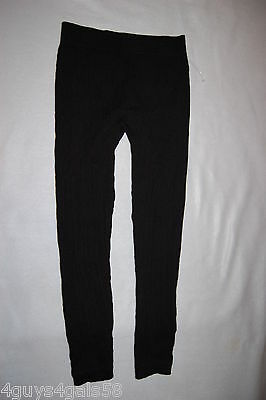 Girls Leggings BLACK CABLE KNIT Ribbed Cuff Waistband  S-M