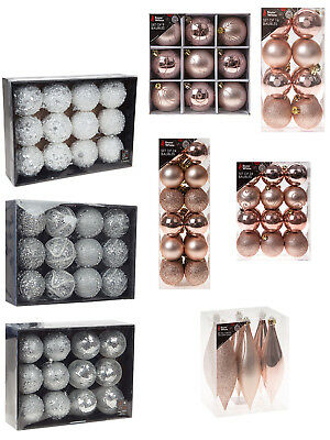 Deluxe Set Of Baubles Rose Gold Silver White Crystal Luxury Decorated Glitter