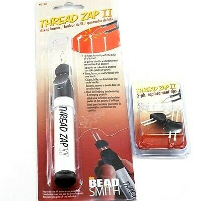 *Beadsmith Thread Zap II Burner Zapper Tool or 2 Replacement Tips Cordless Tool