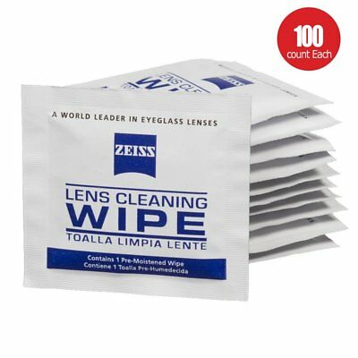 ZEISS Lens Cleaning 100 Wipes Eye Glasses Computer Optical Lense Cleaner