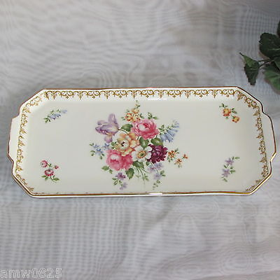 "Crown Staffordshire England's Bouquet 12"" Sandwich Tray Floral Fine Bone China"
