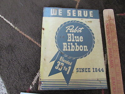 ?1940s? Pabst Blue Ribbon Flanged Bar Sign We Serve Since 1944 Milwaukee Wisc.