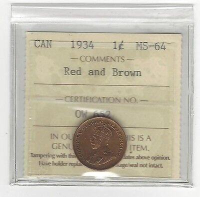 **1934**,ICCS Graded Canadian, Small One Cent, **MS-64**