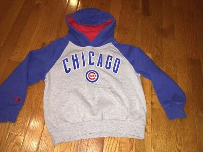 Chicago Cubs Majestic Hooded Pullover Sweatshirt Boys Girls Size 8