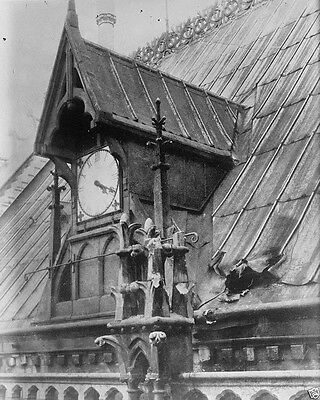 Bomb damage on roof of Notre Dame Cathedral Paris World War I WWI 8x10 Photo