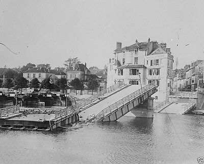 Destroyed bridge over the Marne River at Lagny 1914 World War I WWI 8x10 Photo