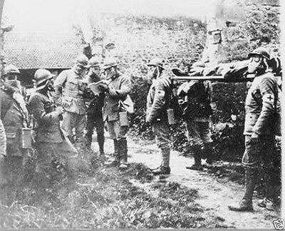 Wounded French Soldiers during gas attack World War I WWI 8x10 Photo