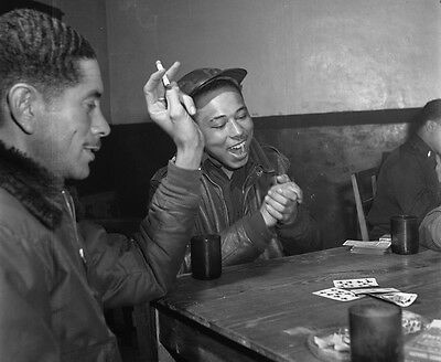 Tuskegee Airmen playing cards at Officer's Club - New 8x10 World War II Photo