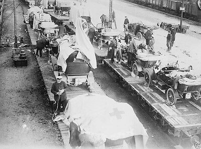 German Red Cross supplies are loaded into vehicles 1914 World War I 8x10 Photo