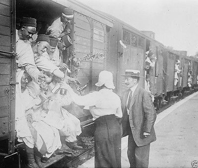 French citizens giving wine to Algerian troops - New World War I WWI 8x10 Photo
