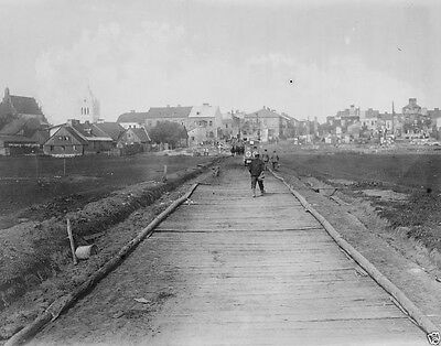 Plank road built by engineers for German troops 1914 World War I 8x10 Photo