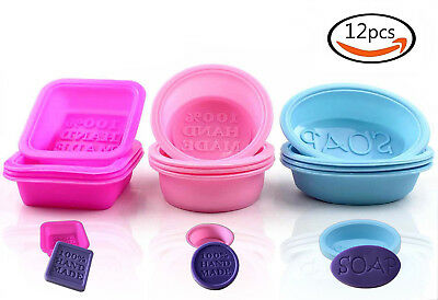 12pcs Square Oval Round Food-grade Silicone Handmade Soap Mold Baking Mould