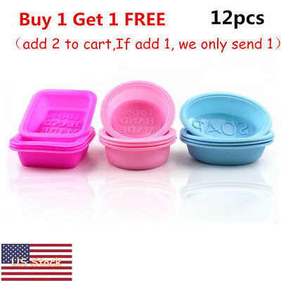 12pcs Square Round Oval Food-grade Silicone Handmade Baking Soap Mold