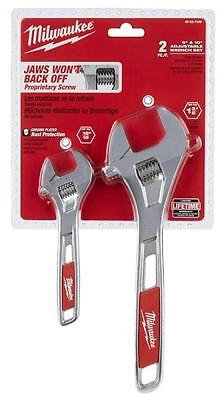 New Milwaukee 48-22-7400 Adjustable 2 Piece Wrench Set 6 Inch And 10 Inch