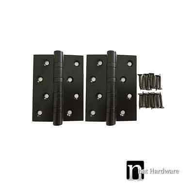 Black Finish Door Hinges (Pair) - Stainless Steel 100 x 75 x 3mm