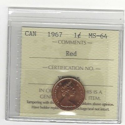**1967**ICCS Graded Canadian Small One Cent, **MS-64**