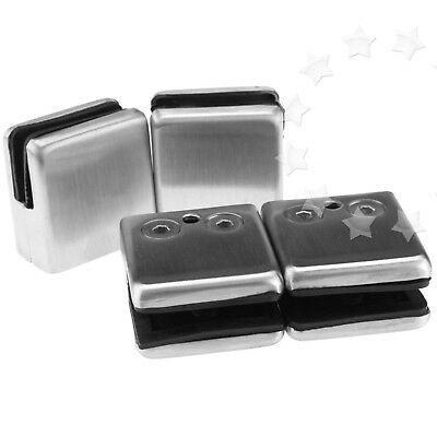 4PCS 8.5/10MM Stainless Steel Window Glass Square Bracket Clamp Clip Holder