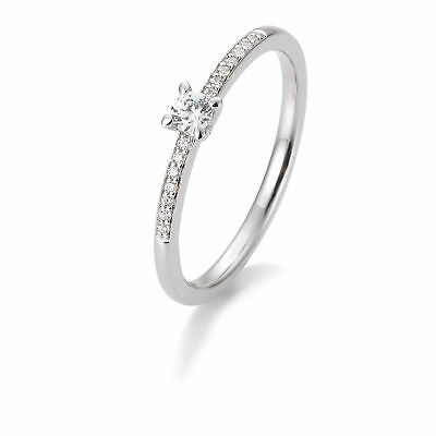 OR BLANC FEMME Bague à brillant 41-85950-0-54 585 Or Blanc