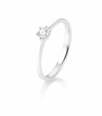 OR BLANC FEMME Bague à brillant 41-82143-0-53 585 Or Blanc