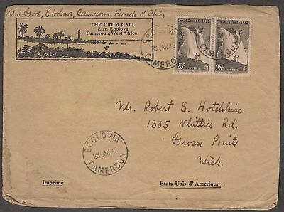 Cameroun Africa 1942 Chute Deau 25C Pair On Cover To Uk