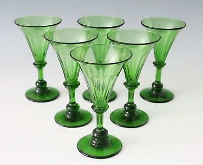 6x an antique crystal White Wine, Rhine wine, Glass, made ca. 1840 England