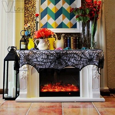 Black Lace Spiderweb Fireplace Mantel Scarf Halloween Party Hauned House Decor