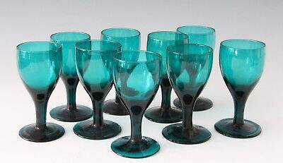 9x antique 18th C White Wine Glass, ca.1780 Holland, blue green / petrol crystal