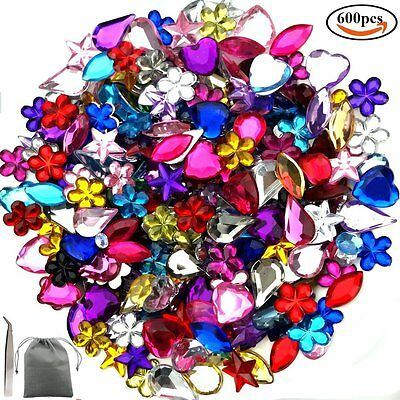 600 Acrylic Gem Craft Jewel Flat back Rhinesytone Embellishment Gemstone 6-13mm
