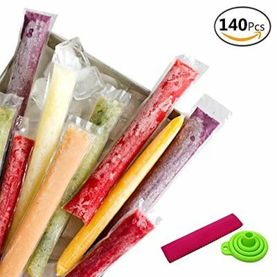 "140pcs DIY Ice Cream Popsicle Disposable Plastic Bags Ice Candy Bag 2""x11"""