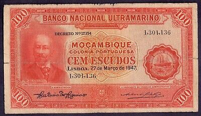 100 Escudos From Mozambique Portuguese Colony 1947