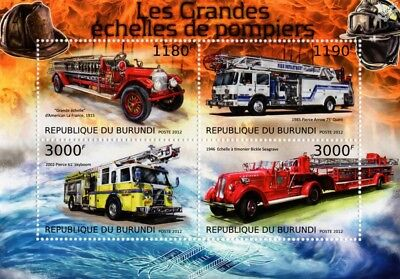 Fire Engine Apparatus Truck / Vehicle Stamp Sheet (2012 Burundi)