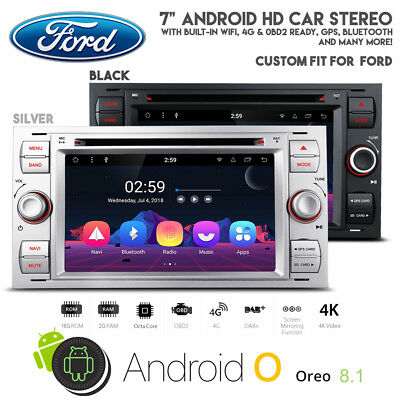 """7"""" Android 7.1 HD Touchscreen Car WiFi 4G GPS Bluetooth DVD USB Stereo For Ford"""
