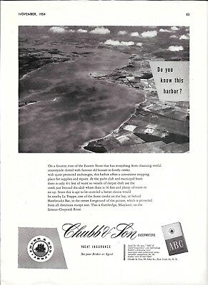 1954 Chubb Insurance Ad- Nice Photo of Cambridge, Maryland