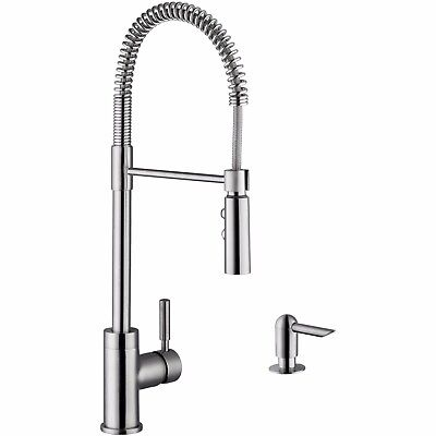 Cahaba CA6113SS Single Handle Pull Down Industrial Style Faucet with Soap Dispen