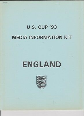 U.s. Cup 1993 Media Information Kit England Brazil West Germany And U.s.a.