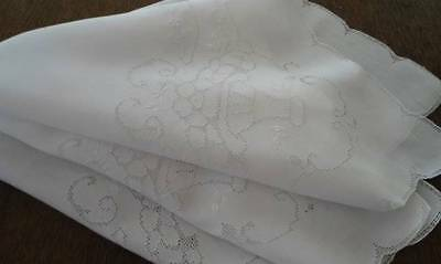 Vintage Linen Tablecloth Mosaic Lace Embroidered Flower Basket Punchwork