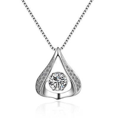 "18"" Dancing Silver Halo Heart Teardrop Cubic Zirconia Pendant Necklace Gift Box"