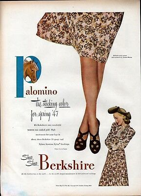 1947 Berkshire Palomino Color Nylon Stockings Ad