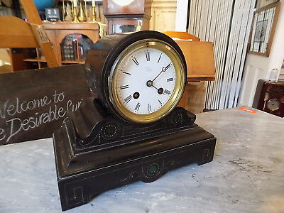 Antique Clock Japy Freres Marble/slate Malachite Bevelled Glass